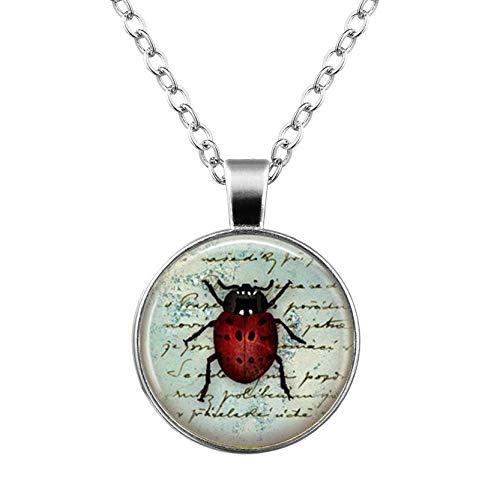 Heng Yuan tian Cheng, collar de mariquita, joyería de insectos, rojo y negro Lady Bug