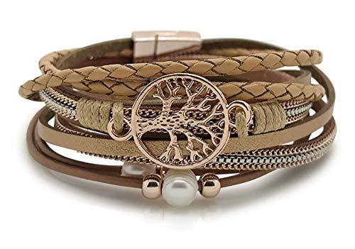 Lebensbaum Armband Damen Wickelarmband mit Perlen - Armkette mit Magnetverschluss Rosegold (Sand, 195)