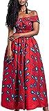 OLIPHEE Robe Femme Imprimer lâche Grande Taille Afrique sans Manches Une épaule De Multiples Façons De Porter(Multicolore,Plume Bleue sur Fond Rouge)
