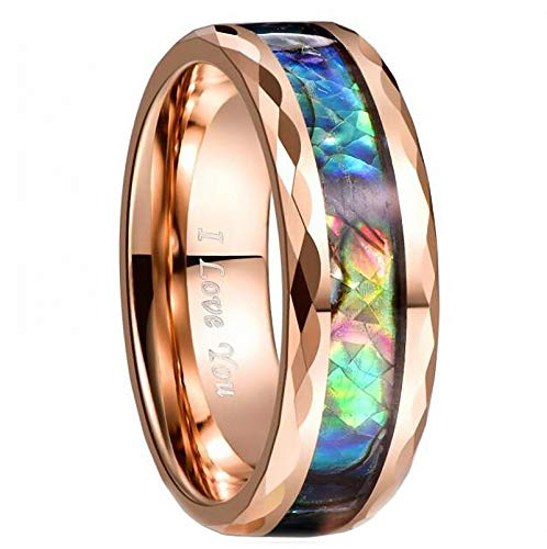N-A Tungsten Carbide Ring 8 mm Width 2.3 mm Thick Plating Rose Gold Flower Inlaid Abalone Shell Tungsten Steel Ring