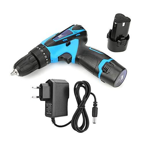 Trapano avvitatore a batteria, trapano avvitatore a batteria ricaricabile a percussione alimentato a batteria 12V(EU Plug 220V)
