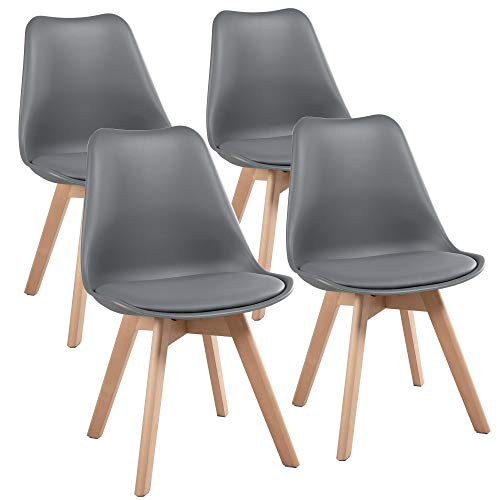 Yaheetech 4pcs Dining Chairs Living Room Bedroom Kitchen Lounge Chair Modern DSW Upholstered Side Chair with Soft Padded and Wood Legs, Dark Gray