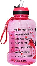 QuiFit Motivational Gallon Water Bottle - with Straw & Time Marker BPA Free Large Reusable Sport Water Jug with Handle for Fitness Outdoor Enthusiasts Leak-Proof (high heels,1 gallon)