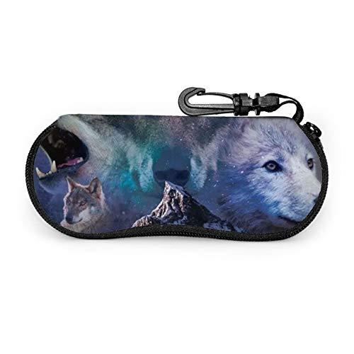 Full Moon Wolf - Funda para gafas de sol con clip para cinturón con cremallera para gafas de sol