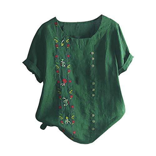 Gofodn T-Shirt Femme, Mode élégante 2019 Vêtements Chemisier D été Floral Bohemian Blouse Top Col Rond en Coton Et Lin Brodés en Tête De Manches Courtes Blouses Et Chemises Basique Casual(Vert,L)
