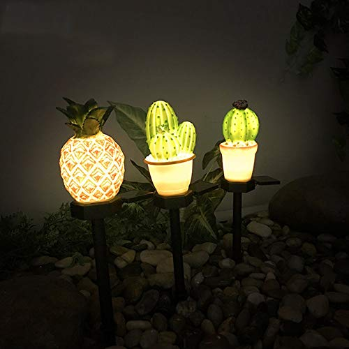 Garden Solar Lights Outdoor Decorations Lawn Ornaments Pineapple Cactus Plants Solar Stake Lamp Waterproof LED for Garden Patio Backyard Pathway Garden Decor (Color : Pineapple)