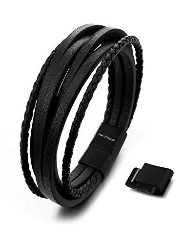 SMARTEON | Premium Echtlederarmband für Männer in schwarz & braun | Verschiedene Längen | Magnetverschluss aus Edelstahl | Exklusive Schmuckschachtel (Schwarzes Leder/Edelstahl schwarz, 15.00)