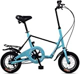 Aoyo Mini Folding Bikes, 12-Zoll-Single Speed Super Compact faltbares Fahrrad, High-Carbon Stahl Leichtes Gewicht Faltrad mit Heck Carry-Rack, (Color : Red)