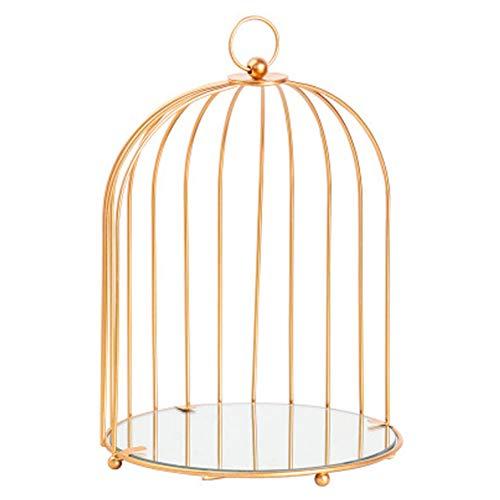 Geyan Soporte De Exhibición De Collar Estante Cosmético Soporte De Pastel De Metal Creativo Porta Pendientes Bejewel Con Forma De Jaula De Pájaros Pastel De Postre De Cosmético (Dorado)