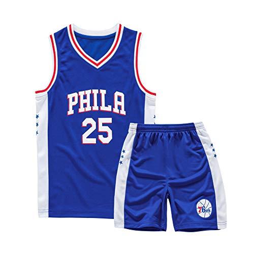 Blau, 76er, Nr. 25, Kinderbasketballuniformen, Stickbasketballuniformen, bequem, atmungsaktiv und schnell trocknend, wiederholbares Waschen, geeignet, Kindersportbekleidung-L