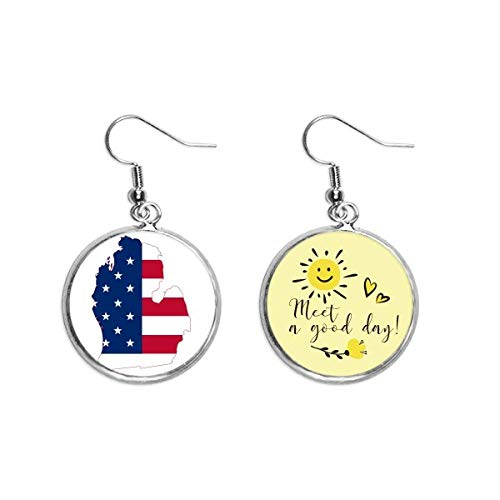 Michigan America USA Map Stars tripes bandera oreja gota sol flor pendiente joyería moda