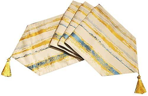 Rayada Amarilla del Largo Corredor de la Tabla, Color sólido algodón Hecho a Mano de Lino Caminos de Mesa (Color : Yellow, Size : 30 * 240cm)