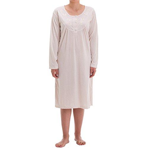 Zeitlos - Damen Nachthemd Fiona Langarm Schlafshirt Blumen Punkte, Größe:M, Farbe:beige