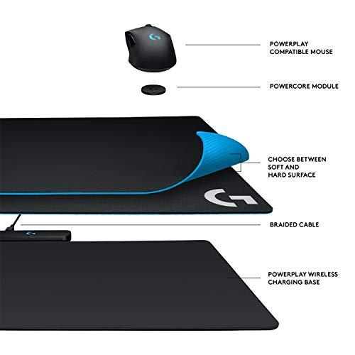 Logitech G POWERPLAY kabelloses Ladesystem, Lightspeed Technologie, Stoff & Kunststoff Gaming-Mauspads inklusive, USB-Anschluss, RGB-Beleuchtung, Kompatibel mit Logitech G PRO Wireless/G903/G703/G502
