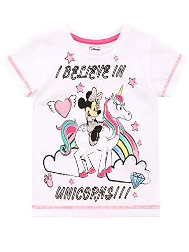 Disney Camiseta de Manga Corta para niñas Minnie Mouse Blanco Unicornio 2-3 Años