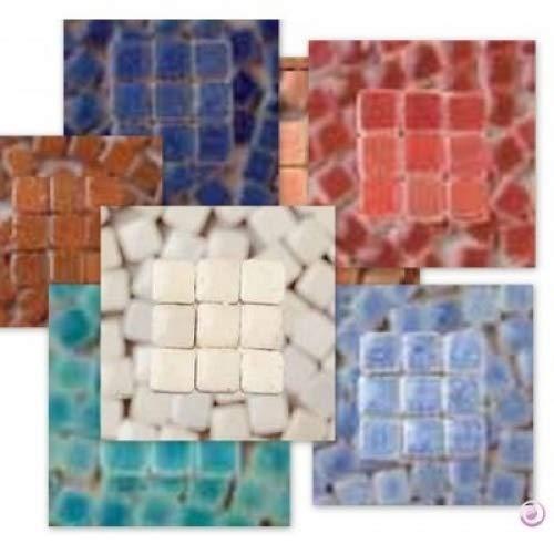 MosaicMicros - Piastrelle per Mosaico, in Ceramica Smaltata, 5 x 5 x 3 mm, 10 g, 100 Pezzi Giallo Chiaro-Arancione