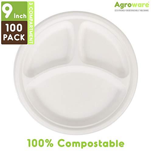 Agroware Biodegradable 9 pulgadas, 3 compartimentos/secciones para sacar platos de alimentos. Platos desechables para llevar comidas en el microondas Ideal para restaurantes o fiestas.