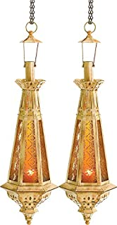 Amber Teardrop Lantern Moroccan Hanging Candle Lamp 23 Inches Tall 2 Pc Lot