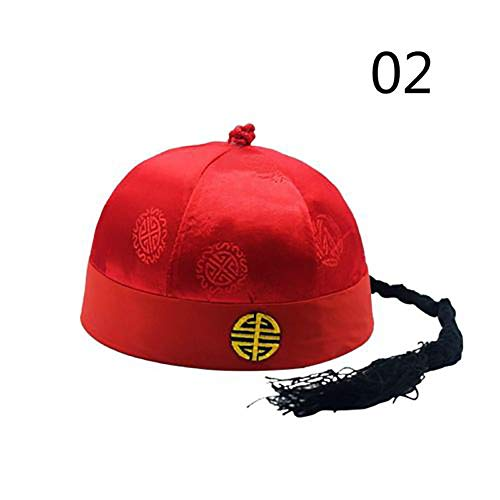 Shanghaipop Chinese Boys Oriental Hats Qing Dynasty Ponytail Attached Caps Hanfu Accessory (# 2, L)