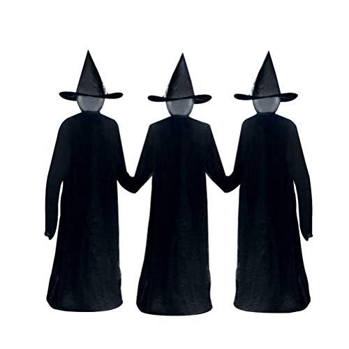 Merkts Visiting Light Up Brujas con estacas, inducción activada por voz Brujas emisoras de luz Props para decoración de Halloween Embrujadas diseño de casa