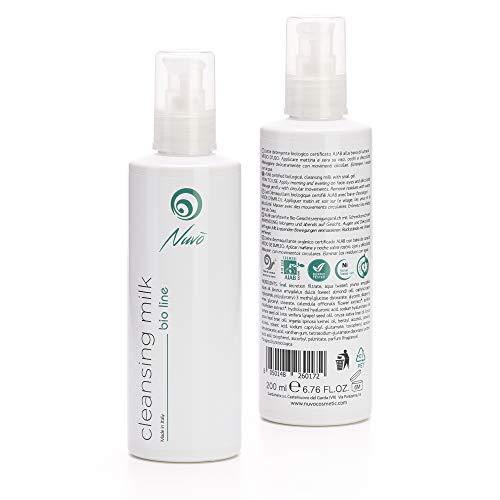 Nuvo' Baba de caracol Leche limpiadora facial Orgánico Certificado AIAB con ácido hialurónico Extracto de caléndula Vitamina E Made in Italy 200 ml