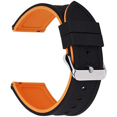 Fullmosa Silikon Uhrenarmband 24mm mit Schnellverschluss in 8 Farben, Regenbogen Weich Silikon Uhrenarmband mit Edelstahlschnalle,24mm Schwarz+Kürbisorange