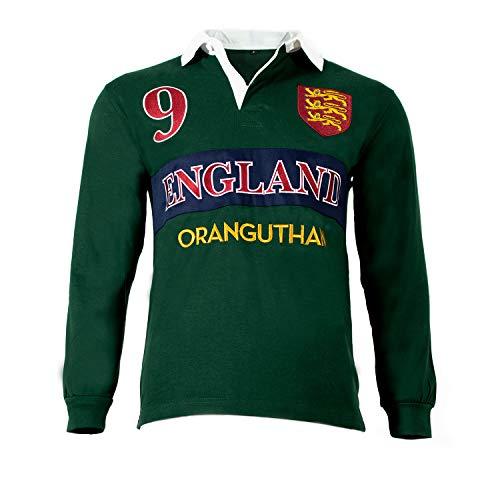 Oranguthan England Camiseta Polo Rugby Inglaterra Hombre Manga Larga, Verde, 100% Algodón, 280gr, Estilo Deportivo, Original
