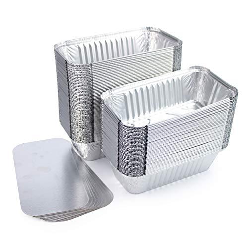 Miamex Lot de 100 Barquettes en Aluminium Jetables avec Couvercle pour Transport de Nourriture - Congélation - Cuisson (avec Couvercle, 685ml)