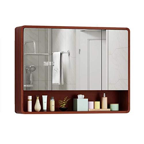 MJK Espejo montado en la pared, armarios con espejo Armario con espejo con espejo Armarios de madera para baño con estanterías montadas en la pared Armario de baño con combinación de roble Caja de es