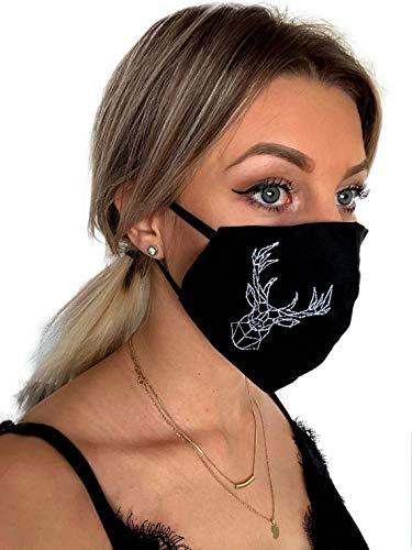 Pet-Jos Hirsch Stoffmaske Mund nasenschutz Hirsch geometrische Hirsch Gesichtsmaske Mundschutz Maske Stoffmaske 3 Lagen aus 100 % Baumwolle made in EU elastische Ohrschlaufen Unisex Schwarz