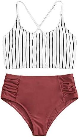 SweatyRocks Women s Bathing Suits Striped Criss Cross Bikini Set High Waisted Swimsuits Burgundy product image