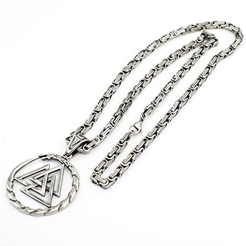 YOROOW-OUTDOOR Jormungandr Vikingo Collar Hombres, Amuleto Nórdico Acero Inoxidable Colgante King Chain, con Bolsa Joyería Valknut Rune Viking
