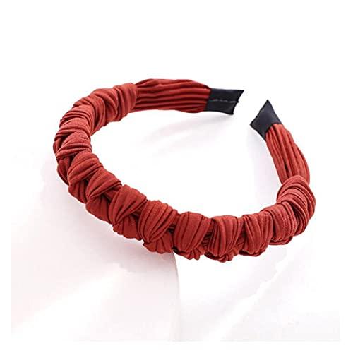 YINGNBH Banda para el Cabello Mujeres Hairband Plised Multi-Knot Diadema Top Calidad Hecho A Mano Hechas Mano Color Sólido Turban Accesorios para el Cabello (Color : Red Orange Hairband)