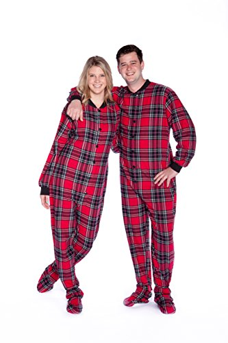 Red Plaid Flannel Onesie Men's Footed Pajamas with Rear Flap Body Suit (XL)