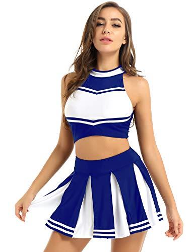 renvena Damen Cheer Leader Kostüm Cheerleading Cosplay Uniform Ärmellos Bauchfrei Oberteil mit Mini Faltenrock Karneval Fasching Party Tanz Kostüme A Blau S