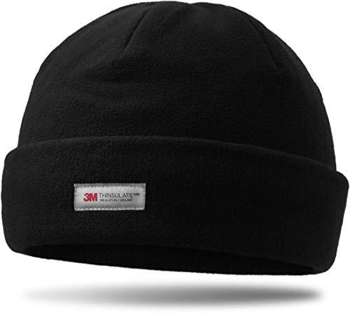 3M Thinsulate Herren Thermo Fleece Rollmütze, gefüttert, extra dick und weich, Farbe :Schwarz