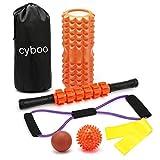 CYBOOフォームローラー 筋膜リリース マッサージローラー 6セット ヨガポール ヨガローラー マッサージスティック ストレッチボール ゴムチューブ ストレッチローラー エクササイズチューブ トレーニングチューブ首肩コリ 収納バッグ