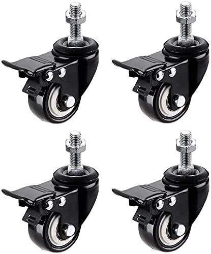 Ruedas giratorias Negras de 4X 2 Pulgadas Rueda giratoria de Goma de 50 mm con Freno 4 Ruedas de Repuesto con Rosca M8 / M10 (Color : 4×with Brakes, Size : M8x25mm)