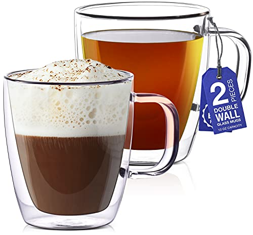 12 oz Glass Coffee Mugs - Set of 2 - Clear Double Wall Glasses - Insulated Glassware With Handle - Large Espresso Latte Cappuccino or Tea Cup by Eparé