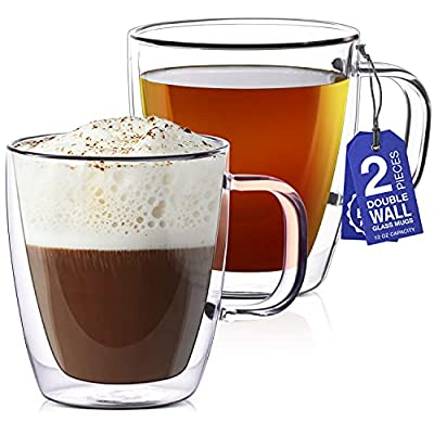 Amazon - 10% Off on 12 oz Glass Coffee Mugs – Set of 2 – Double Wall Clear Glasses
