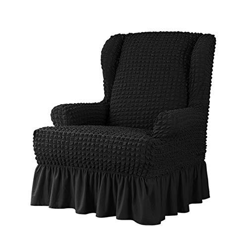 VanderHOME Stretch Sesselbezug mit Rüschen Ohrensessel husse Sessel-Überwürfe Ohrensessel Überzug Sofabezug Stretchbezug Stretchhusse Sofabezug Moderne schwarz