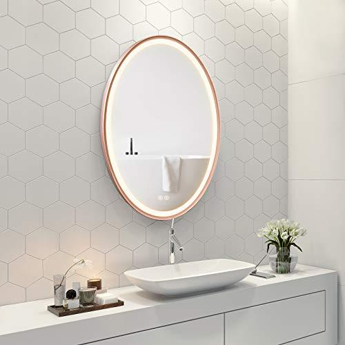 FAUETI Specchio da bagno a LED con illuminazione, 50 x 70 cm, luce bianca calda, 3000 K, con interruttore touch, protezione IP44, a risparmio energetico