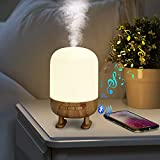 KANINO Diffusore di Oli Essenziali con Altoparlante Bluetooth, Diffusore di Aromi con Luce Notturna a 3 Modalità,Timer e Spegnimento Automatico, 200ml Diffusore Ambiente Senza BPA