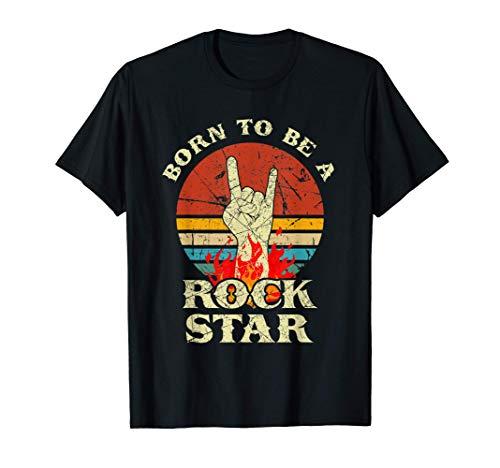 Born To Be Rock Star T-shirt Horns main Rétro T-Shirt