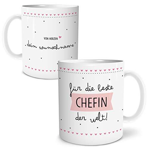OWLBOOK Beste Chefin Große Kaffee-Tasse mit Spruch im Geschenkkarton Personalisiert mit Namen Geschenke Geschenkideen Chefin als Danksagung Weihnachten