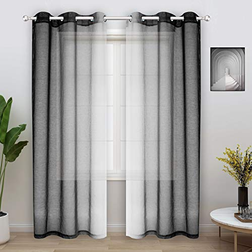 WONTEX Faux Linen 2 Tone Ombre Sheer Curtains for Living Room/Bedroom, 42 x 84 Inch Long, Black and White – Light Filtering and Privacy Gradient Curtain, Grommet Semi Sheer Voile, Set of 2 Panels