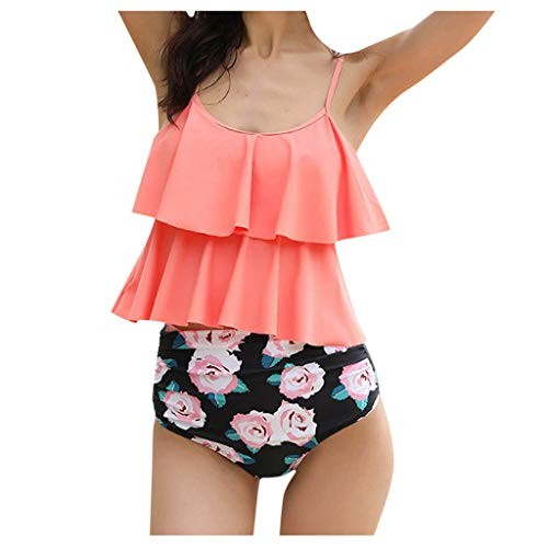 Why Should You Buy Leadmall Women Tankini Ruffle Swimsuit - Ladies Floral Print Control Tummy Bikini...