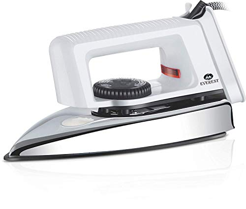 Everest Popular 750 Watts Light Weight Dry Iron Box (White)