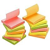 TOROTON Super Sticky Note 76 x 76 mm, 4 Colori Sticky Notepad Blocchetti Memo Adesivi Neon Colore Collezione, 12 Pastiglie x 100 Fogli