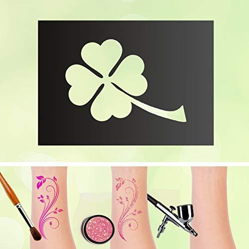 Tattoo Schablonen Kleeblatt Selbstklebend Kinderschminken Airbrush Größe 5 Stk